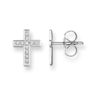 Thomas Sabo Cross Pave Ear Studs, Silver