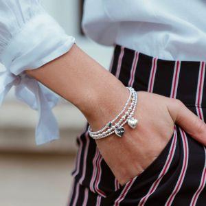 Annie Haak Dainty Boxed Heart Silver Bracelet