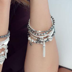 Annie Haak Hematite Flower Silver Bracelet