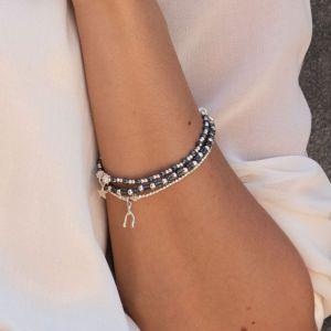 Annie Haak Hematite Teeny Silver Star Bracelet