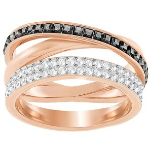 Swarovski Hero Ring, Black, Rose Gold Plating