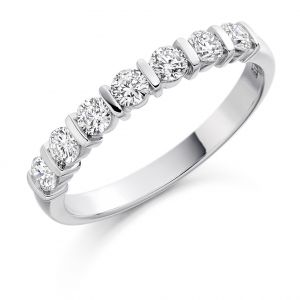 Raphael Collection Half Eternity Ring, Round Brilliant Bar Setting in Platinum