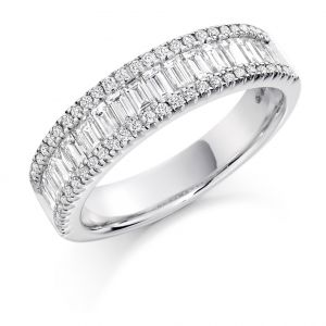 Raphael Collection Half Eternity Ring, Round and Baguette in Platinum