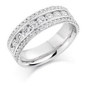 Raphael Collection Half Eternity Ring, Triple Band in Platinum