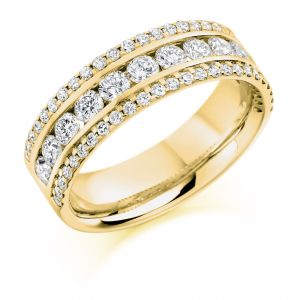 Raphael Collection Half Eternity Ring - Triple Band Micro-Claw Set Diamonds