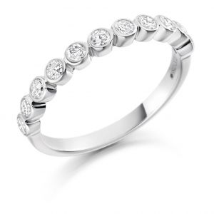 Raphael Collection Half Eternity Ring, Round Brilliant Rubover in Platinum