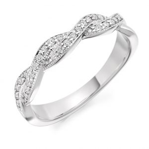 Raphael Collection Half Eternity Ring, Crossover Design in Platinum