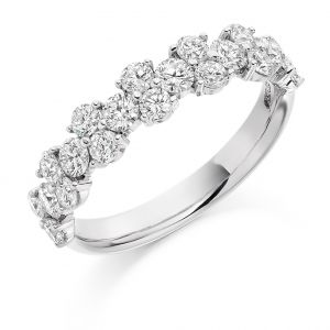 Raphael Collection Half Eternity Ring, Claw Set Cluster in Platinum