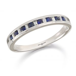 Brown & Newirth Blue Sapphire & Diamond Half Eternity Ring
