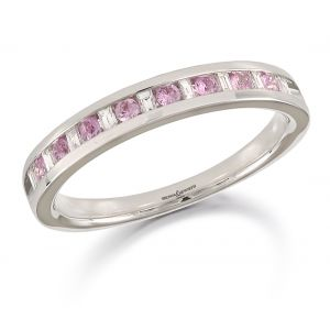 Brown & Newirth Pink Sapphire & Diamond Half Eternity Ring
