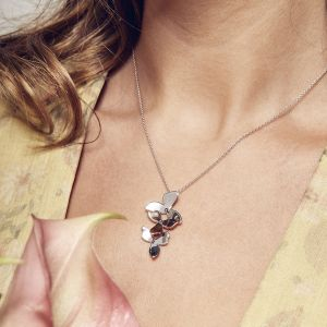 Kit Heath Blossom Bloom Trio and Silver and Rose Gold Necklace