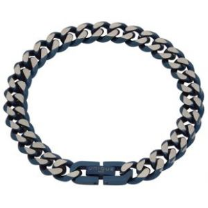 Unique and Co Mens Blue Steel Matt and Polished Curb Bracelet