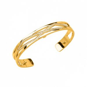 Les Georgettes Liens 8mm Gold Finish and Zirconia Bangle