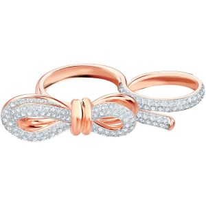 Swarovski Lifelong Bow Double Ring, White, Mixed Plating