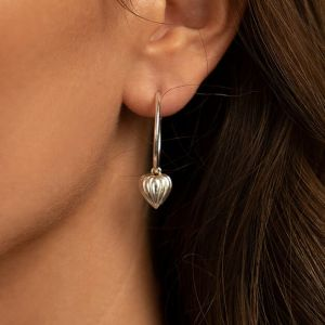 Annie Haak Lined Heart Silver Hoop Earrings