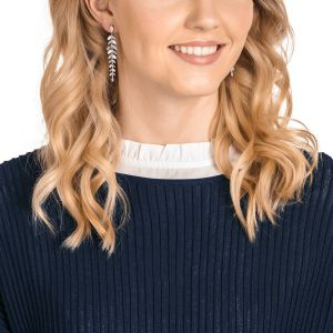Swarovski Mayfly Pierced Earrings, White, Rhodium Plating