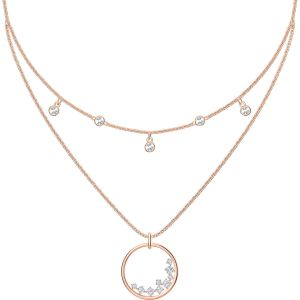 Swarovski North Double Necklace, White, Rose Gold Plating