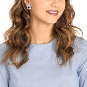 Swarovski Louison Hoop Pierced Earrings, White, Rhodium Plating