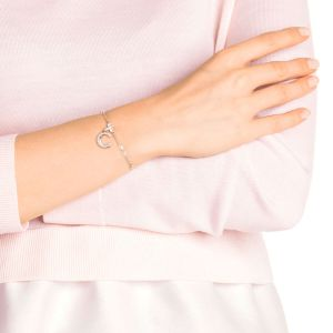 Swarovski Remix Collection Charm C, White, Rose Gold Plating