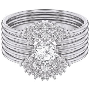 Swarovski Penélope Cruz Moonsun Ring Set, White, Rhodium Plating