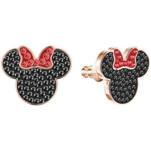 Swarovski Mickey & Minnie Pierced Earrings, Black, Rose Gold Plating