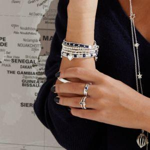 Annie Haak Mini Orchid Silver Charm Bracelet - Solid Heart