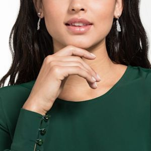 Swarovski Nice Earrings, White, Rhodium Plating