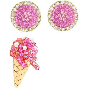 Swarovski No Regrets Ice Cream Pierced Earrings, Multi-Coloured, Gold Plating