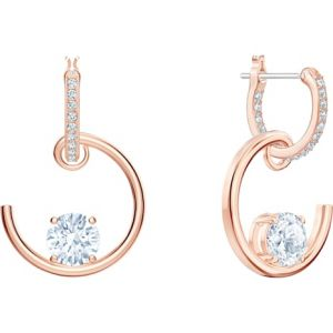 Swarovski North Hoop Earrings, White, Rose Gold Plating