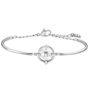 Swarovski North Bangle, White, Rhodium Plating