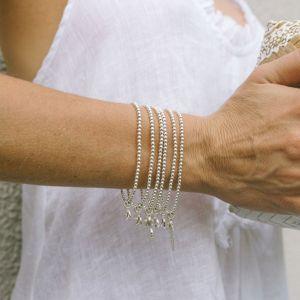 Annie Haak Santeenie Silver Charm Bracelet - Pink Heart