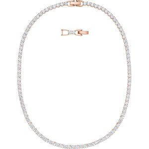 Swarovski Tennis Deluxe All-Around Necklace, White, Rose Gold Plating