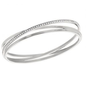 Swarovski Spiral Bangle, White, Rhodium Plating