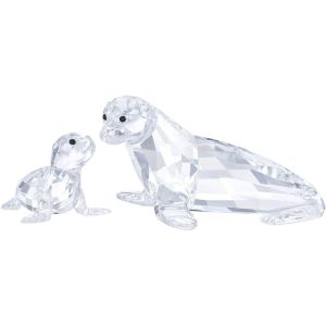 Swarovski Crystal Sea Lion Mother With Baby