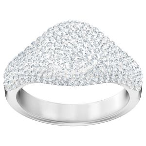 Swarovski Stone Signet Ring, White, Rhodium Plating