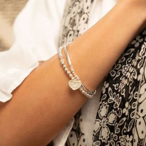 Annie Haak Siska Silver Charm Bracelet - Clear Crystal Heart
