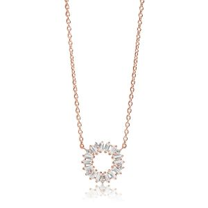 Sif Jakobs Necklace Antella Circolo - 18k rose gold plated with white zirconia