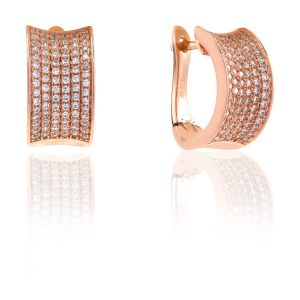 Sif Jakobs Earrings Dinami - 18k rose gold plated with white zirconia