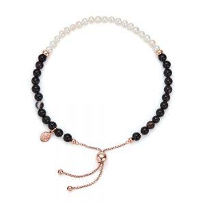 Jersey Pearl Sky Bracelet, Bar Style in Black Agate