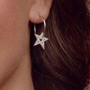 Annie Haak Clear Crystal Star Hoop Silver Earrings