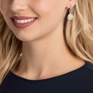 Swarovski Sunshine Pierced Earrings, White, Rhodium Plating