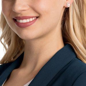 Swarovski Sunshine Pierced Earrings, White, Rose Gold Plating