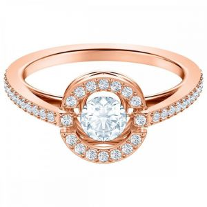 Swarovski Sparkling Dance Round Ring, White, Rose Gold Plating
