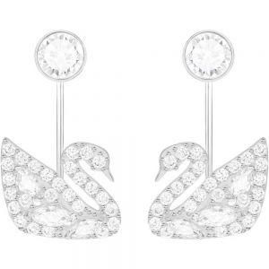 Swarovski Swan Lake Pierced Earring Jackets - White - Rhodium Plated