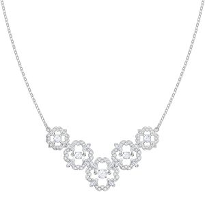 Swarovski Sparkling Dance Flower Necklace, Medium, Rhodium