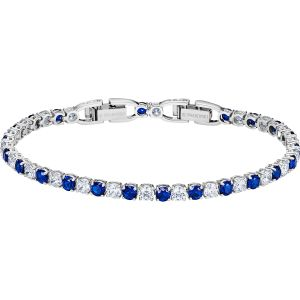 Swarovski Tennis Bracelet, Blue, Rhodium Plating