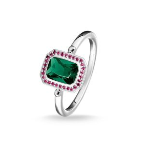 Thomas Sabo Ring, Red And Green Stones, Silver, Size 54