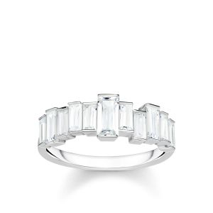 Thomas Sabo Ring, White Stones, Baguette Cut, Size 54