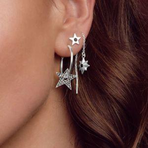 Annie Haak Twilight Black Star Silver Pull Through Earrings