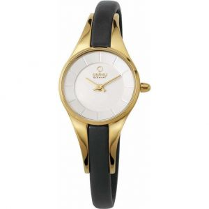 Niche Obaku Ladies Gold Plated Skinny Black Leather Strap Watch